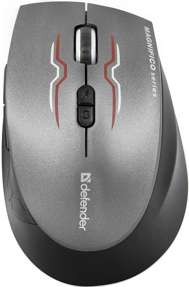 Мышь беспроводная лазерная Defender Magnifico MM-555, серый