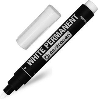 Маркер перманентный Centropen широкий 2,5 мм белый арт.8586 0100