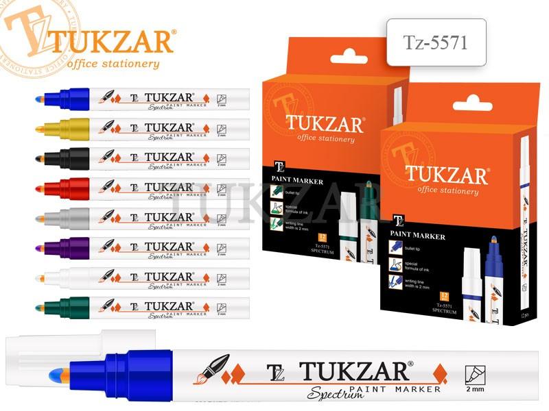 Маркер-краска Tukzar Spectrum Серебряный 2мм, пулевидный наконечник, TZ 5571