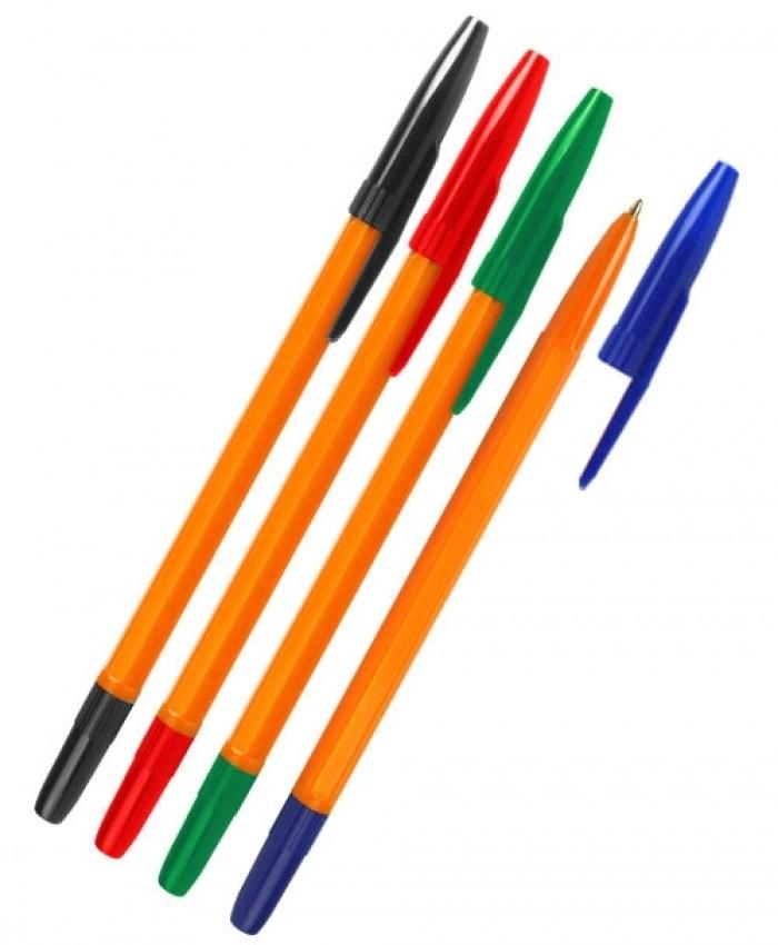 Набор ручек шариковых СТАММ 511 ORANGE (4 цвета)
