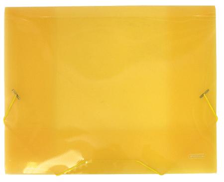 Папка на резинке A4, желтая полупрозрачная, 0.7 мм