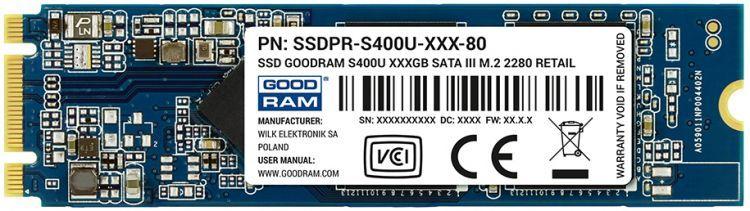 Жесткий диск SSD m.2 GOODRAM S400U 120GB (SSDPB-S400U-120-80)