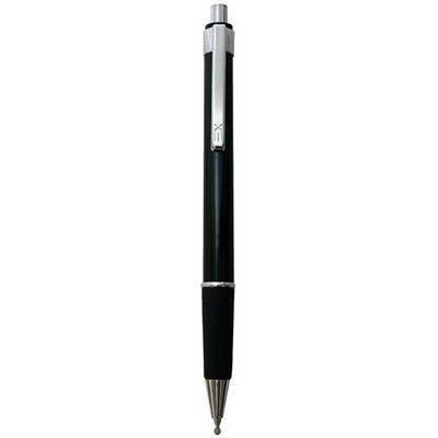 Ручка шариковая, пл. чёрный корпус, мет. отделка, резин вставка
