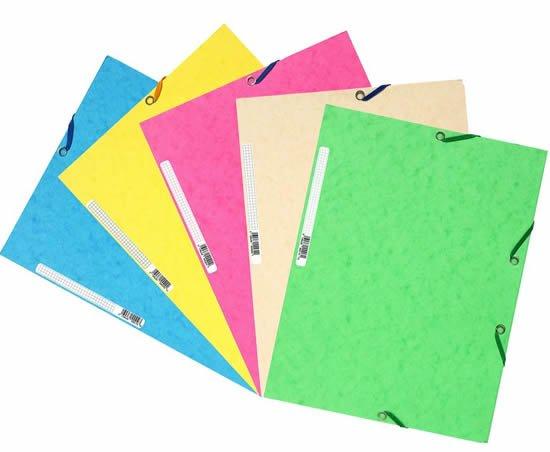 Папка для бумаг на резинке, картон, цвет ассорти