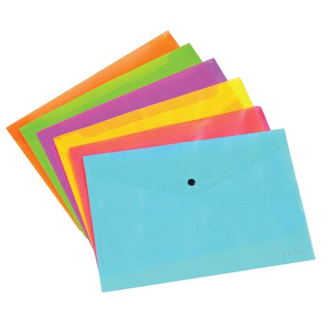 Папка конверт на кноп. A4 0.15мм. ассорти