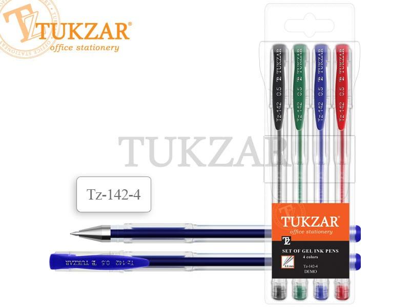 Ручки гелевые TUKZAR набор 4 цв., прозрачный корпус