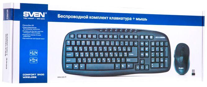 Беспроводной комплект клавиатура+мышь Sven Comfort 3400 Wireless USB