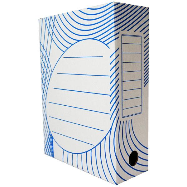Короб архивный 80 мм белый, картон, синий рисунок