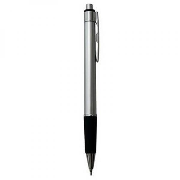 Ручка шариковая, пл. серебристый корпус, мет. отделка, резин вставка