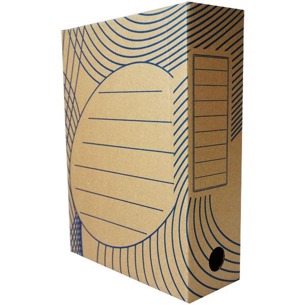 Короб архивный 100 мм бурый, картон, синий рисунок