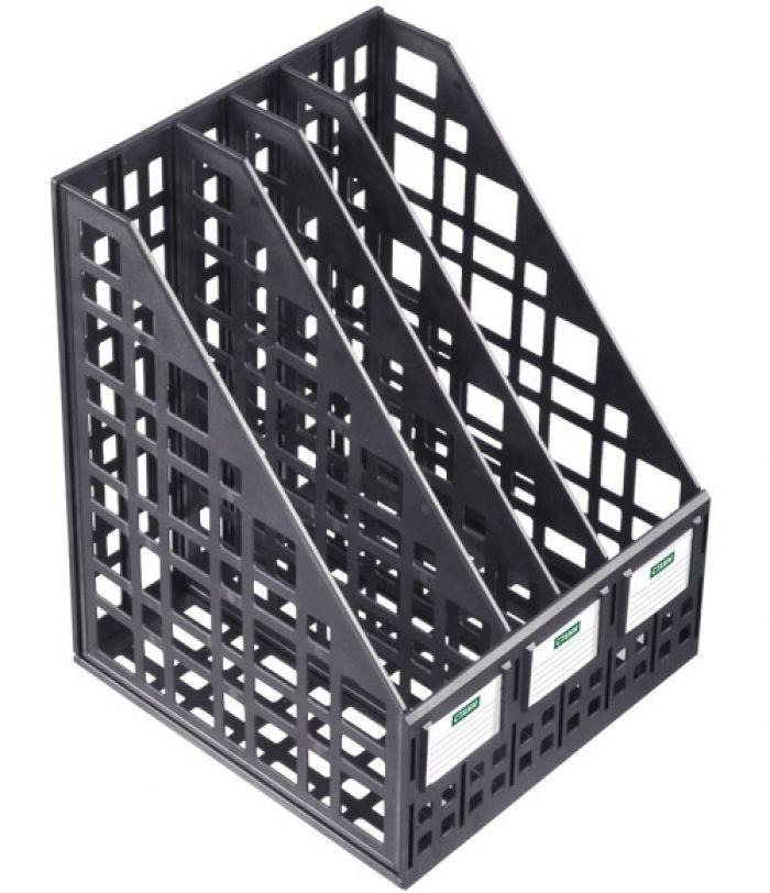 Лоток для бумаг вертикальный сборный, 4 отделения, черный