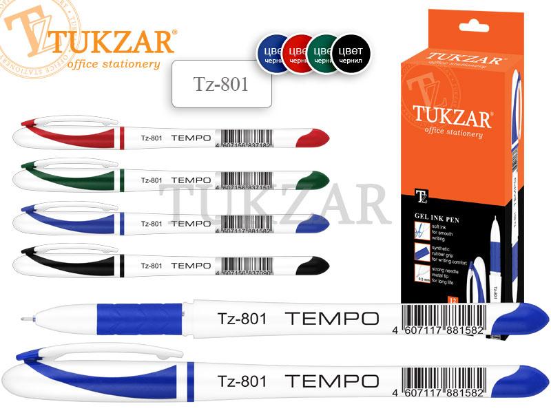 Ручки гелевые TUKZAR набор 5 цветов TEMPO, белый корп. игольч. стерж.