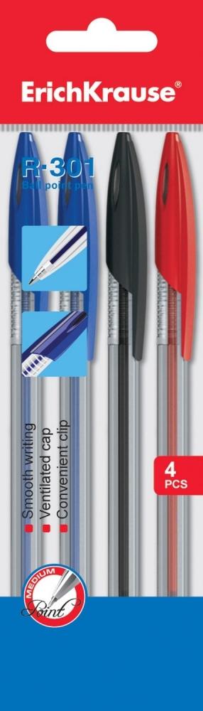 Ручки шариковые (набор 4цв - синяя-2, красная, черная)