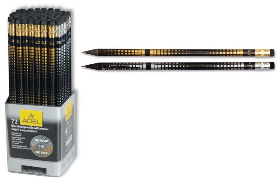 Карандаш ч/гр. с ластиком ADEL Safari Blackline из черного дерева, 4 дизайна