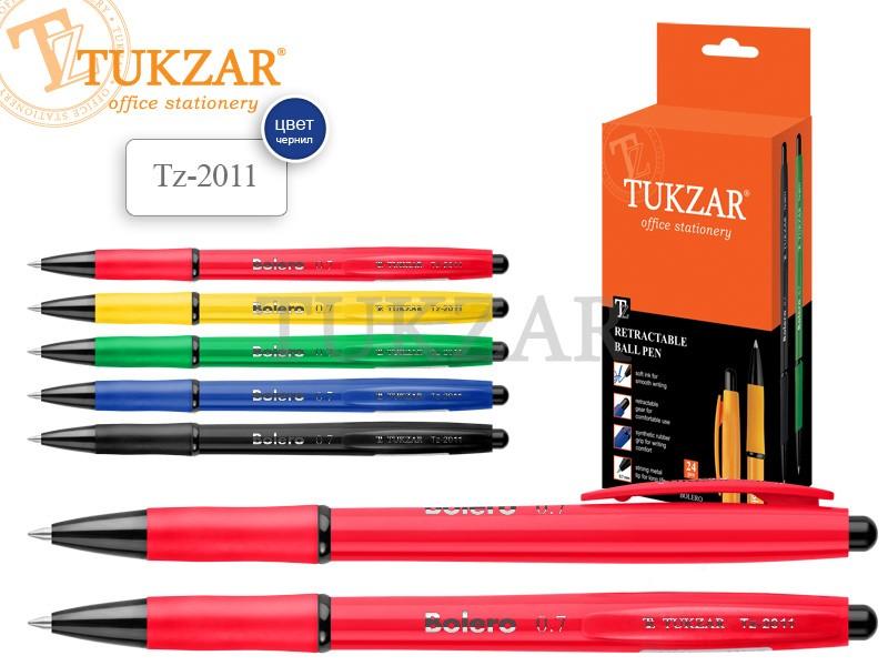 Ручка автомат. яркий корпус с цветн. резиновым держателем TZ2011 АССОРТИ 5цв.