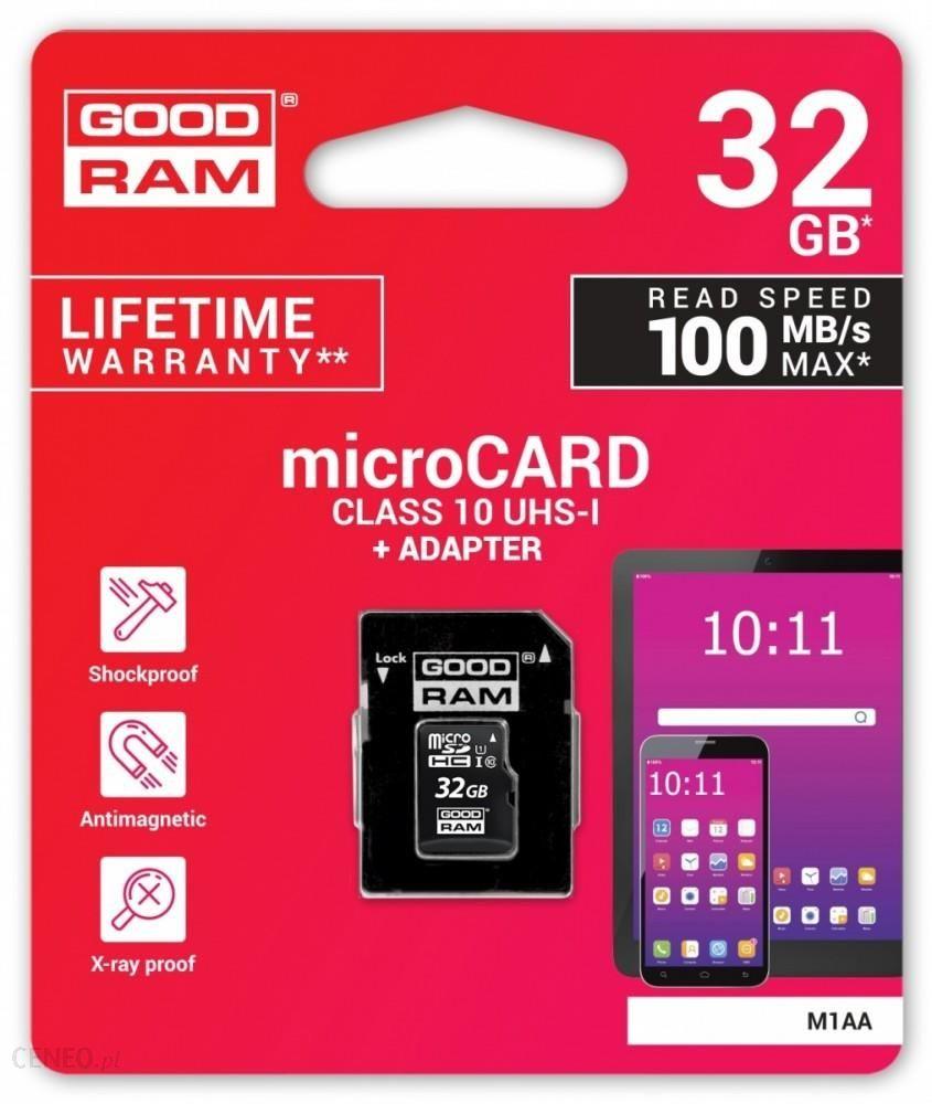 Карта памяти GOODRAM M1AA-0320R12 32GB micro card Class 10 UHS I+ adapter