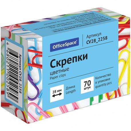 Скрепки 28 мм. цветные OfficeSpace 70шт. арт. CV28 2258