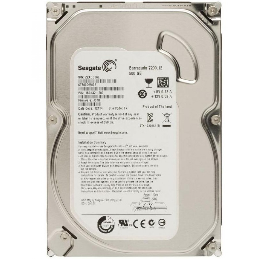 Жесткий диск HDD 500Gb Seagate SATA III 16MB (ST500DM002)