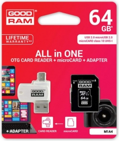 Карта памяти GOODRAM M1A4-0640R12 64GB micro card Class 10 UHS I + adapter-reader