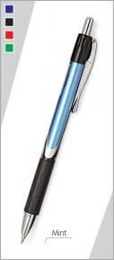 Ручка автомат. Montex Mint с син. стерж., мет. клип, мет наконечник, резин. держ