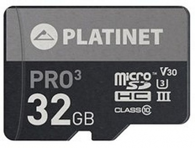 Карта памяти microSDHC  PLATINET SECURE DIGITAL + ADAPTER SD 32GB class10 UIII 90MB/s [PMMSD32UIII]
