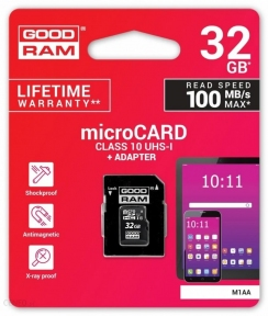 Карта памяти GOODRAM M1AA-0320R12 32GB micro card Class 10 UHS I+ adapter